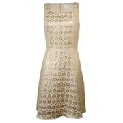 Jessica Simpson Women's Metallic Floral Lace Panel Dress