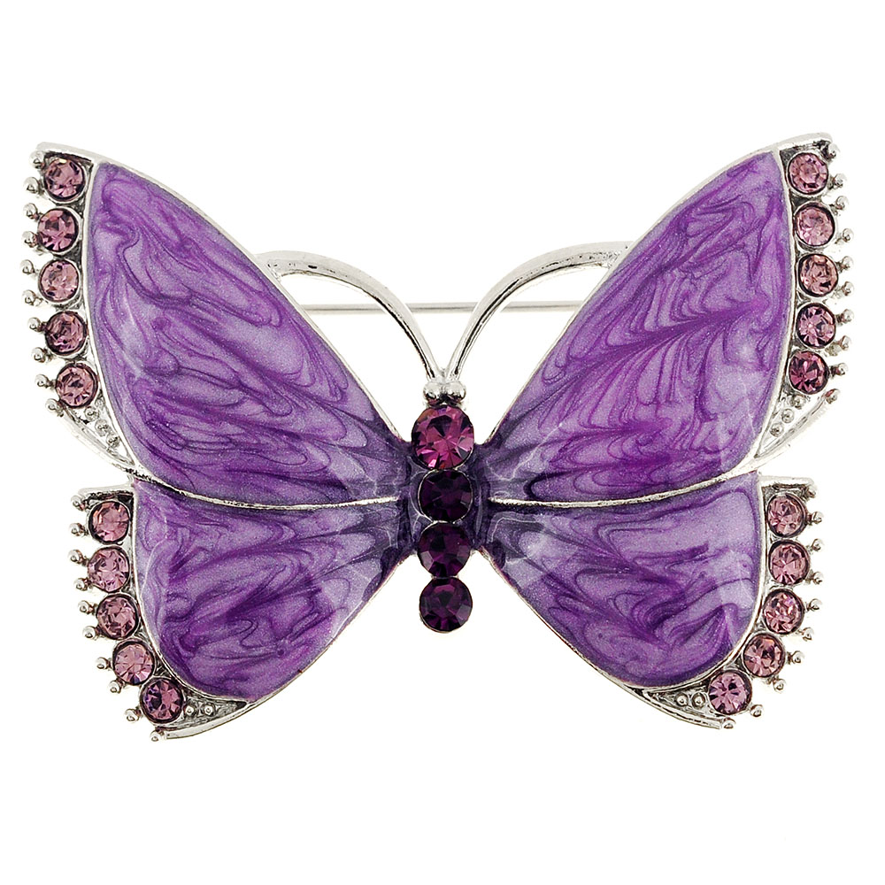 Amethyst Butterfly Pin Brooch by