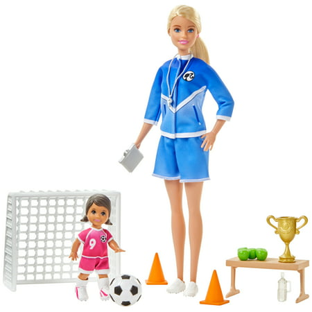 Barbie You Can Be Anything Soccer Coach Blonde Doll and Playset