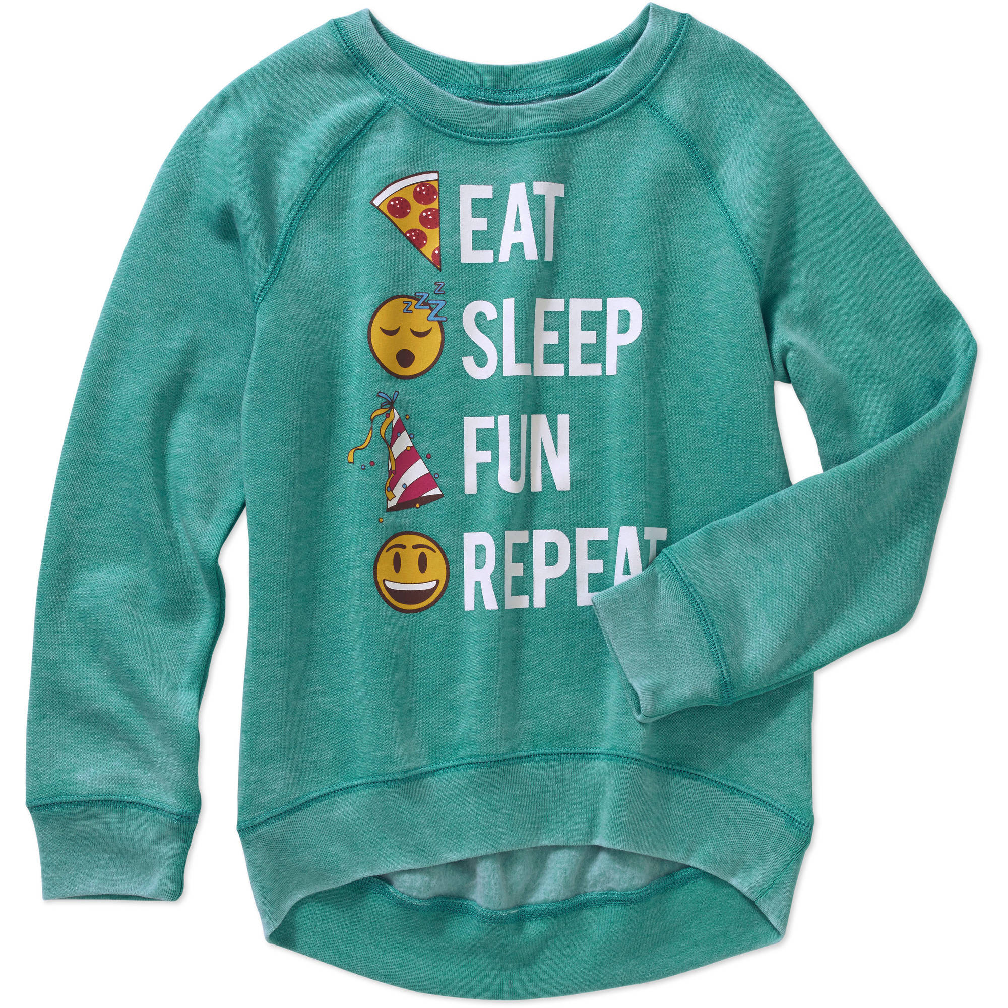 Gems And Jets Girls' Long Sleeve Crew Neck Eat, Sleep, Party, Repeat Emoji Graphic Pull Over Sweatshirt