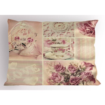 Shabby Chic Pillow Sham Grandmother Mothers Day Vintage Themed Lace Cage Cups Flowers, Decorative Standard Queen Size Printed Pillowcase, 30 X 20 Inches, Lilac Pale Pink and White, by Ambesonne - Lace Vintage Pillowcase