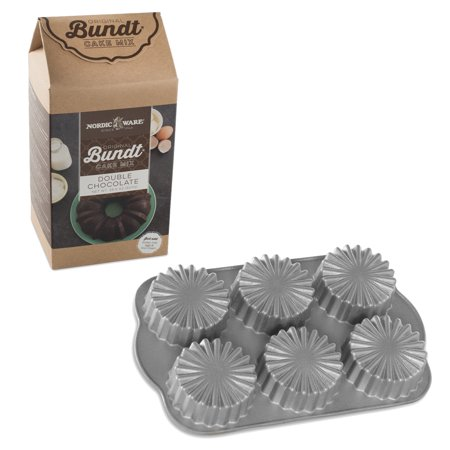 Medallion Double Handle - Nordic Ware Ruffled Medallion Cast Aluminum Cupcake Pan with Double Chocolate Cake Mix