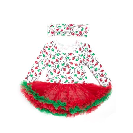 stylesilove infant baby girl christmas character romper tutu dress with headband 2 pcs holiday outfit set 703 6 months light printed