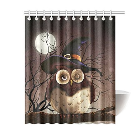 RYLABLUE Cute Branch Owl with Witch Hat Shower Curtain, Full Moon Night Polyester Fabric Shower Curtain Bathroom Sets with Hooks 60x72 Inches - image 1 de 3