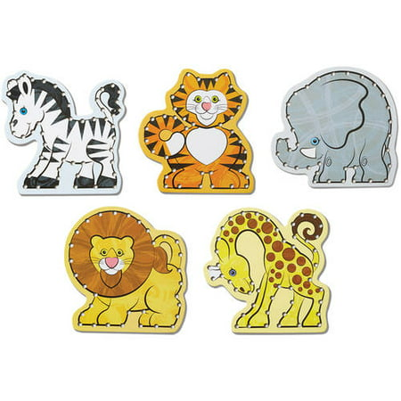 Melissa & Doug Lace & Trace: Wild Animals With 5 Wooden Panels and 5 Matching - Wooden Animals