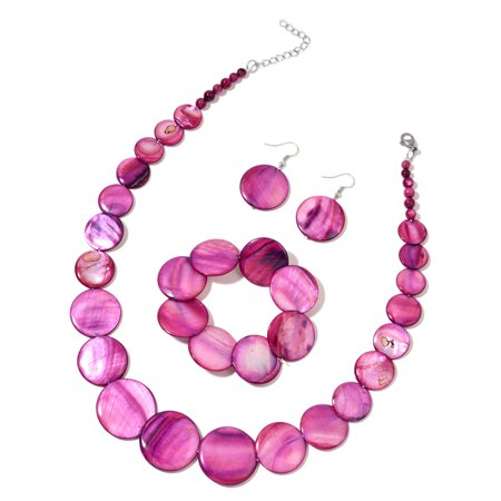 Purple Shell Bracelet (Stretchable) Dangle Drop Earrings and Necklace for Women 20