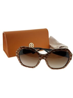 c2ee60cc021 Product Image Tory Burch TY7120-174813-57 Women Orange Pattern Frame Dark  Brown Len Sunglasses
