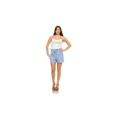 Ladies Striped Belted Shorts with Side Pockets- LIGHT (Belted Pocket)