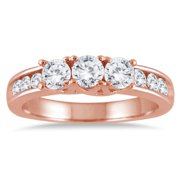Marquee Jewels  10k Rose Gold 1ct TDW Diamond Three-stone Ring