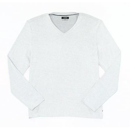 Mens Classic V-neck Sweater - NEW White Gray Micro Stripe Mens XL Lightweight V Neck Sweater