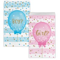 Creative Converting Gender Reveal Balloons Favor Bags, 10 ct