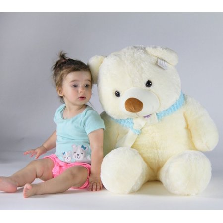 Joyfay Teddy Bear in White- 3ft (39 inches) White Plush Teddy Bear, Great Gift for Christmas, Valentines Day, Easter, Birthdays, and Holidays Great China International Plush