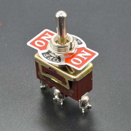 Off Momentary Toggle Switch (3-Pin Position ON-OFF-ON Spring Return Momentary Metal Toggle Switch 15A 250V AC )