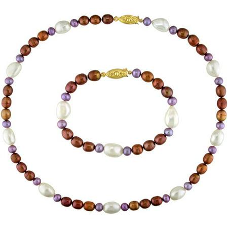 Multi-Color Irregular Shape Cultured Freshwater Pearl Brass Set of Necklace and Bracelet, 18