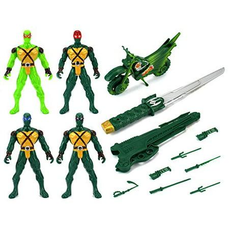 Super Ninja Deluxe 4 Warrior Children Kid's Toy Action Figure Playset w/ Sword, 4 Figures, - Toy Ninja Sword