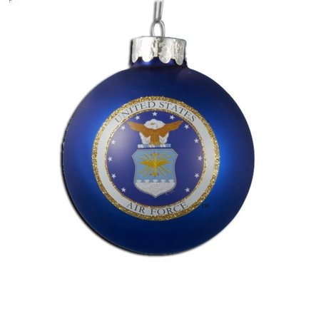 U s air force blue glass decorative christmas ball for Air force decoration writing