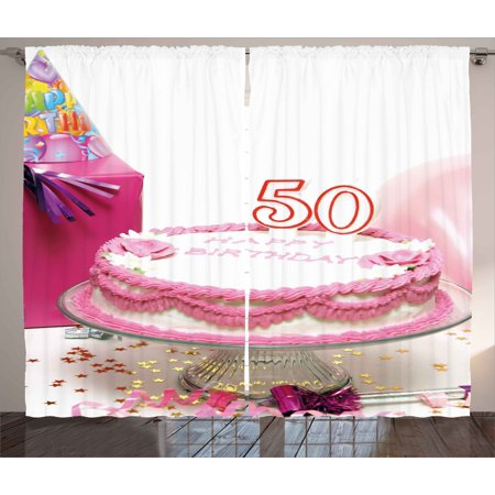 50th Birthday Curtains 2 Panels Set Delicious Cake With Golden Color Stars And Party Hat
