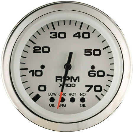 """Sierra 64477FP Lido Series 3"""" White and Stainless Steel Evinrude System Check 0-7,000 RPM Dial Range Tachometer Gauge with Outboard Alternator or Coil Sender Code"""