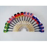 Addmotor 18 pcs (6 sets) Steel Needle Tip Darts With National Flag Flight Flights (National Flag) by Addmotor