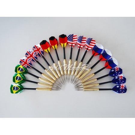 Addmotor 18 pcs (6 sets) Steel Needle Tip Darts With National Flag Flight Flights (National Flag) ()