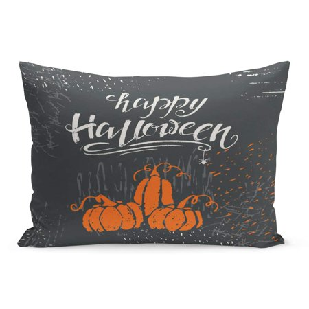 ECCOT Black Label Halloween Lettering Happy Message Templates and Party Pillowcase Pillow Cover Cushion Case 20x30 inch - Halloween Safety Message