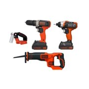 BLACK+DECKER 20V MAX* 4 Tool Combo Kit with (2) 1.5 Ah Lithium Ion Batteries and Charger