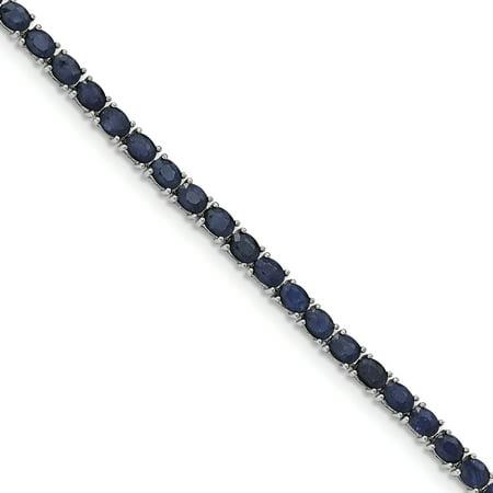 925 Sterling Silver Rhodium-plated Oval Blue Sapphire 7.5in Bracelet - image 2 de 2