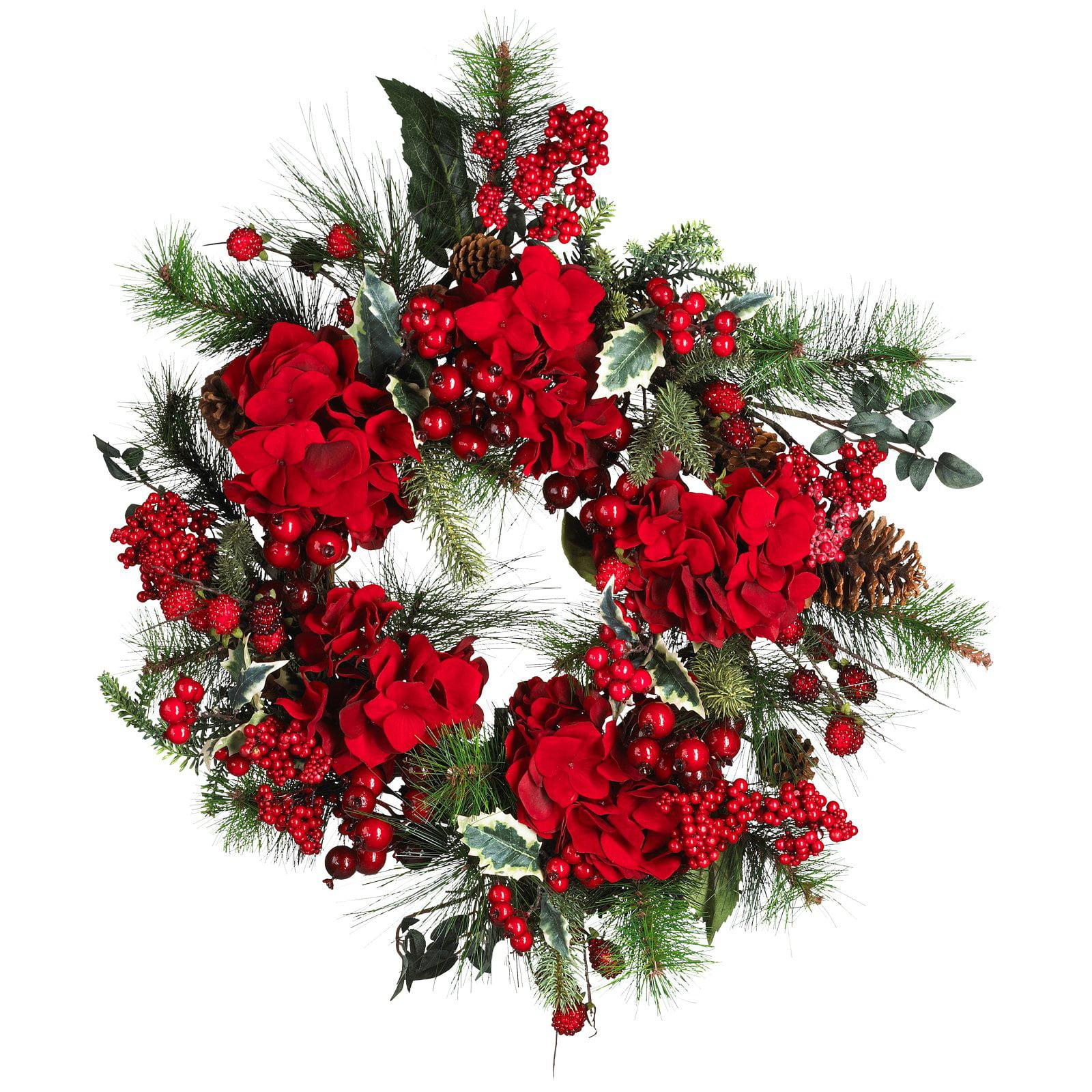 """Nearly Natural 22"""" Hydrangea Holiday Wreath"""