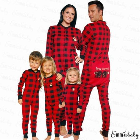 Family Matching Christmas Pyjamas Long Sleeve Plaid Jumpsuit Romper Xmas Pajamas Sleepwear Set Plaid Man M Walmart Canada