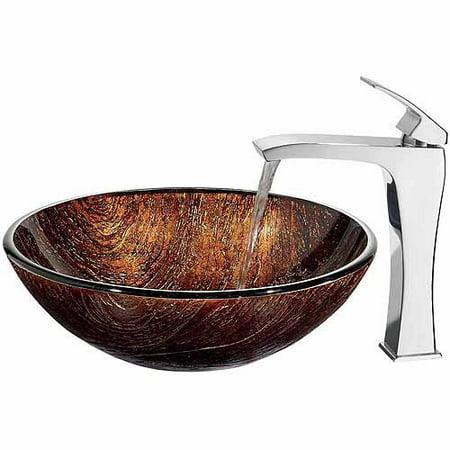 Vigo Kenyan Twilight Glass Vessel Sink and Faucet Set, Chrome ()