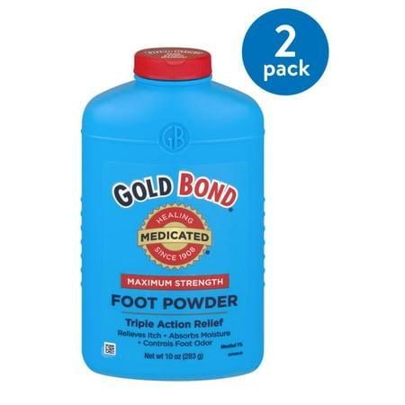(2 Pack) Gold Bond Maximum Strength Medicated Foot Powder , 10 oz Antifungal Foot Powder