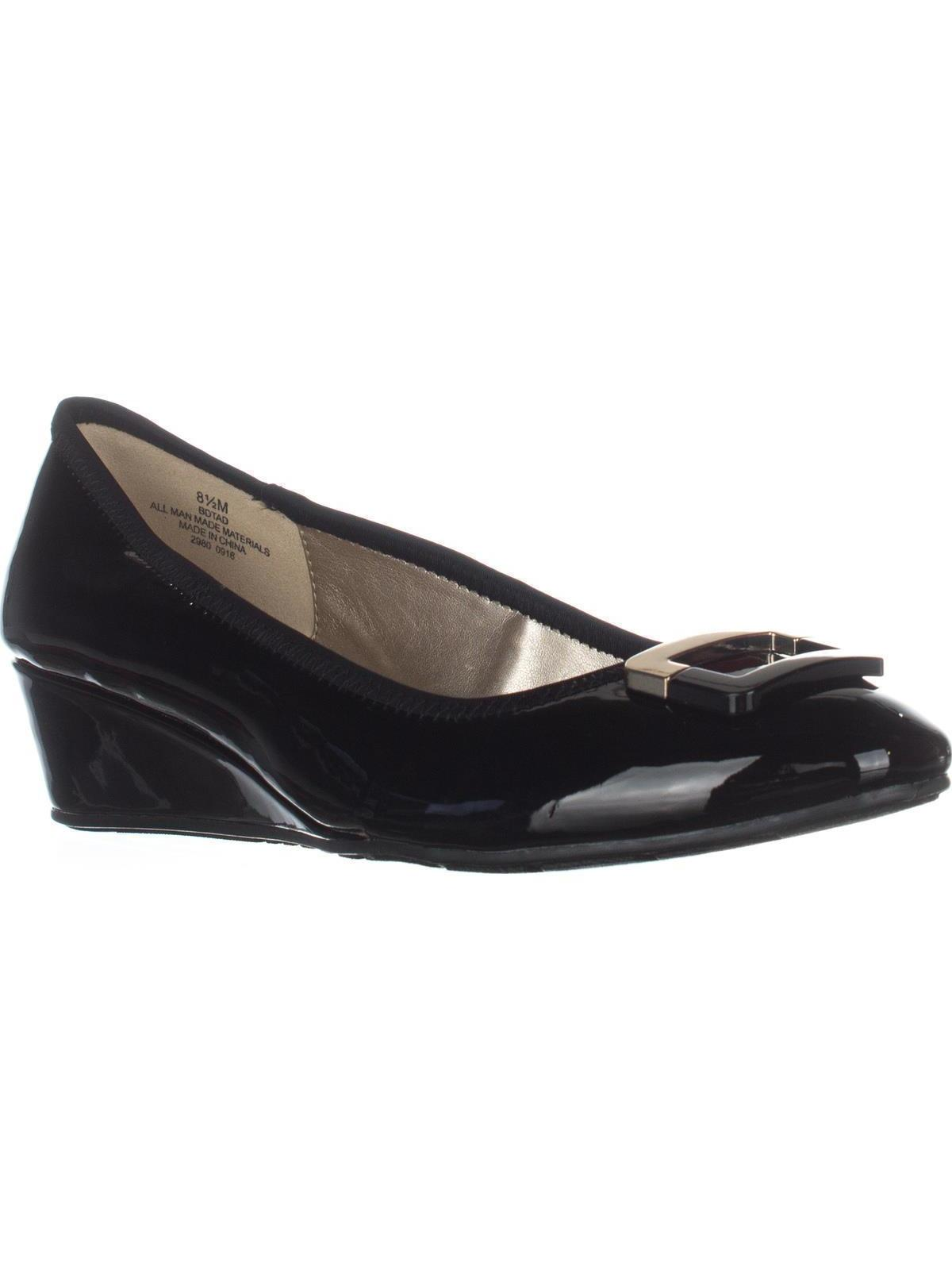 Womens Bandolino Tad Wedge Pumps, Black/Black Leather, 9 US