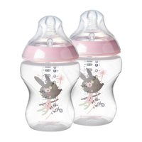 Tommee Tippee Closer to Nature Decorated Baby Bottle, Girl - 9 Ounces, Pink, 2 Count