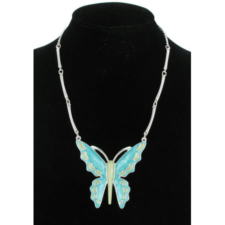 Turquoise Blue Green Enamel Butterfly Big Large Pendant Statement