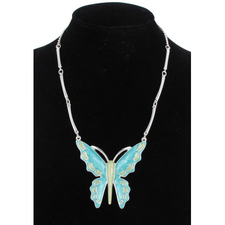 - Turquoise Blue Green Enamel Butterfly Big Large Pendant Statement Necklace