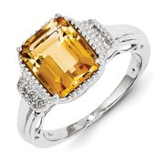 Sterling Silver with Citrine and White Topaz Rectangular Ring
