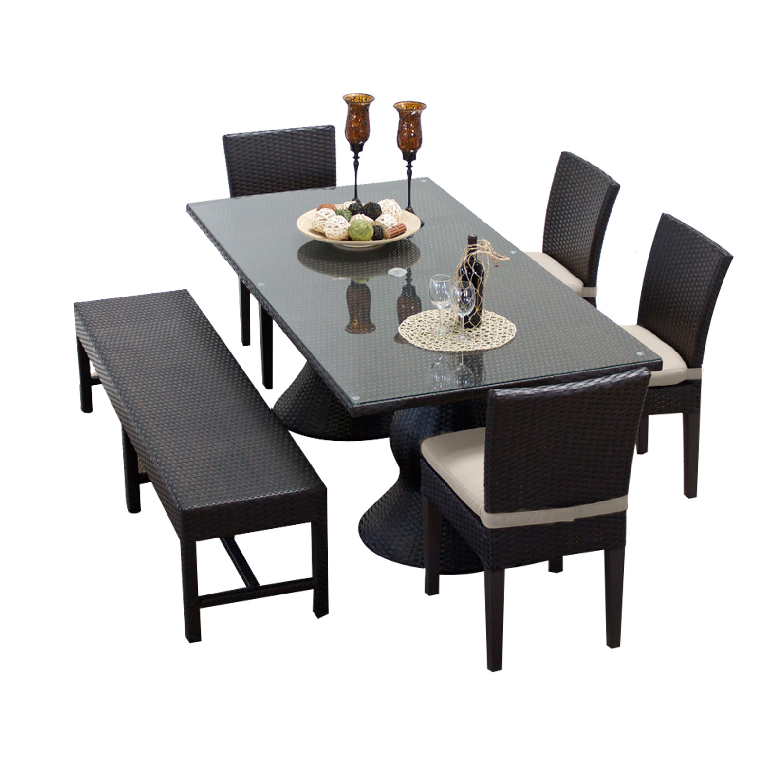 Saturn Rectangular Outdoor Patio Dining Table With 4 Chairs and 1 Bench