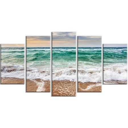 Design Art 'Crystal Clear Blue Foaming Waves' 5 Piece Wall Art on Wrapped Canvas Set