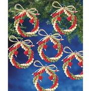 """Holiday Beaded Ornament Kit-Folk Wreaths 2.5"""" Makes 12"""