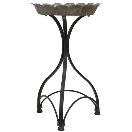 Black Painted Metal - Cole - 25 inch Metal Accent Table - Galvanized Top Tray with Painted Black Metal Stand Base