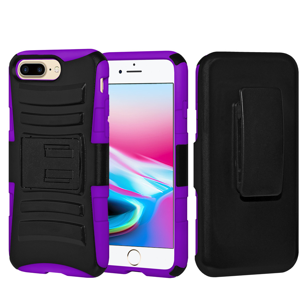 iPhone 8 Plus Case, Rugged TUFF Hybrid Armor Hard Defender Rotating Clip Holster Cover with Kickstand for iPhone 8 Plus - Black/ Dark Purple