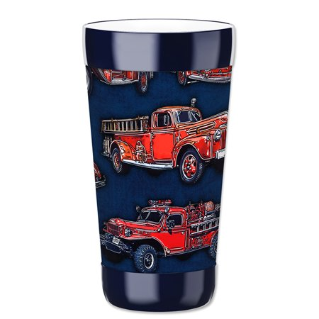 Mugzie 16-Ounce Tumbler Drink Cup with Removable Insulated Wetsuit Cover - Vintage Fire Trucks - Halloween Vintage Tumblr