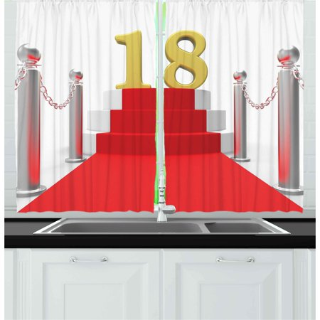 18th Birthday Curtains 2 Panels Set, Hollywood Greeting for a 18 Year Old Star Party Red Carpet Image, Window Drapes for Living Room Bedroom, 55W X 39L Inches, Red Silver and White, by Ambesonne (Movie Star Red Carpet)