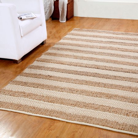 Affinity Home Collection Hand-woven Natural Jute and Cotton Artisan Rug (5' x 8') - 5' x 8'