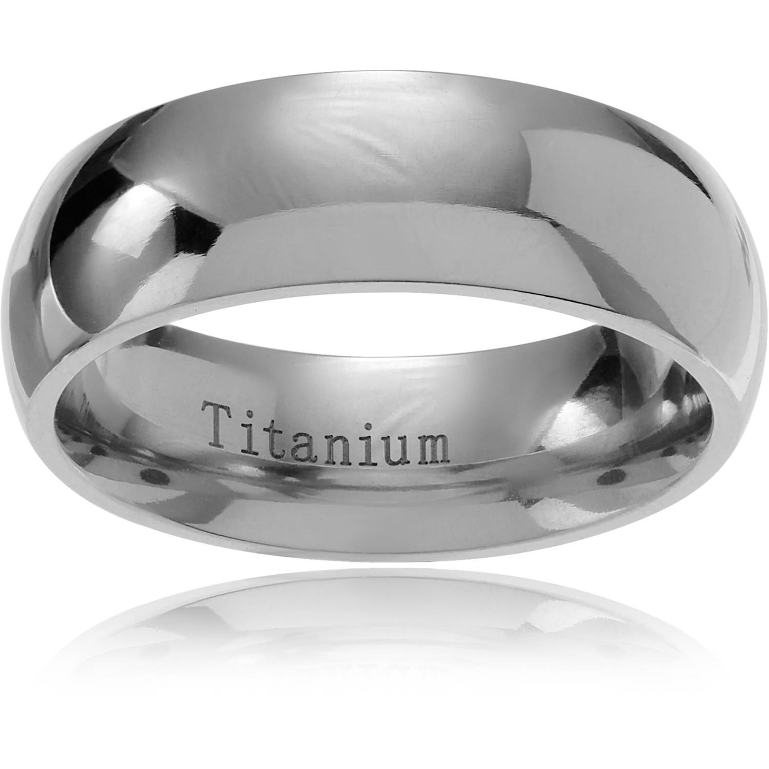 Daxx Men's Titanium Classic Domed Wedding Ring, 7mm