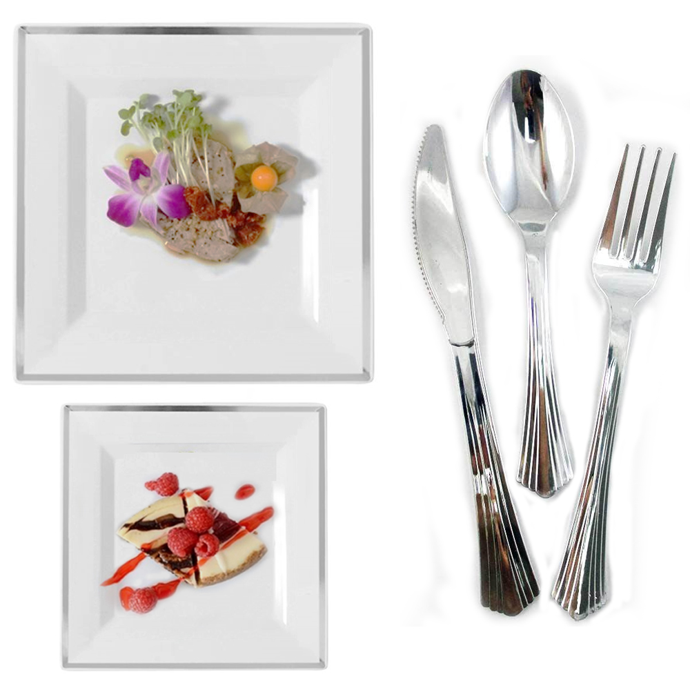 Bulk Square Dinner Wedding Disposable Plastic Plates Dinnerware Party Silver Rim - Walmart.com  sc 1 st  Walmart & Bulk Square Dinner Wedding Disposable Plastic Plates Dinnerware ...