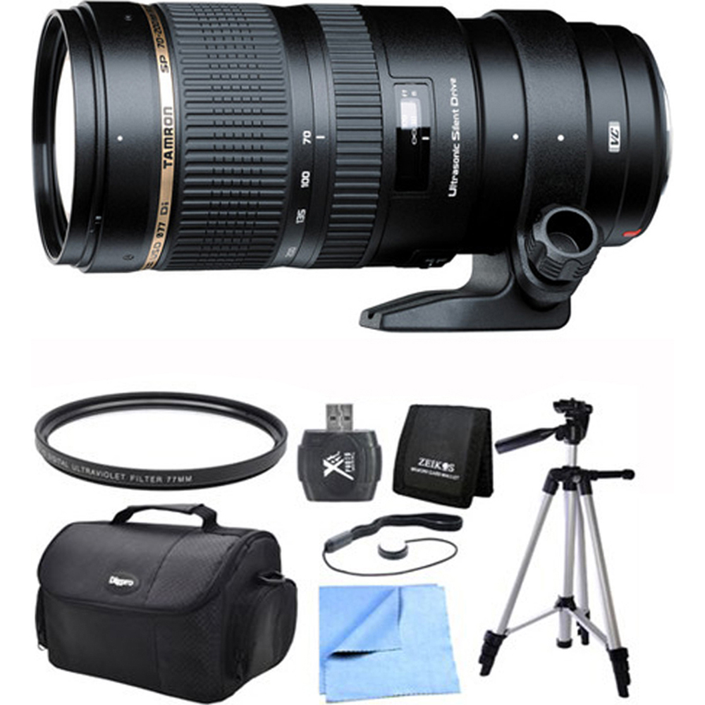 "Tamron SP 70-200mm F/2.8 DI VC USD Telephoto Zoom Lens for Canon EOS Includes Xit 60"" Full Size Photo / Video Tripod, and More"