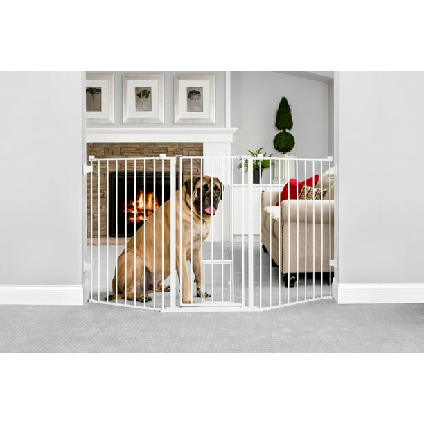 "Carlson Walk-Thru Metal Dog Gate, White, 76""L x 2""W x 38""H"