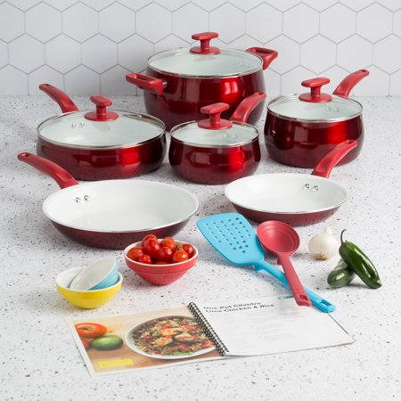 Tasty Ceramic Titanium-Reinforced Cookware Set, Red, 16 Piece
