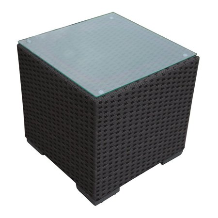 Abba Patio Outdoor Wicker Patio Square End Table Side Table with Glass Top, 16.3